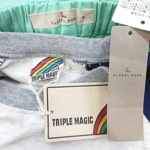 未使用品 グローバルワーク GLOBAL WORK TRIPLE MAGIC スキニーパンツ Tシャツ ロンT 2枚セット ロング ウエストゴム 長袖 丸首 ラグラン 文字 プリント 緑 紺 白 グリーン ネイビー ホワイト M 100 キッズ