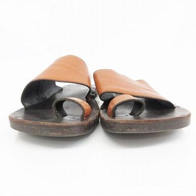 ユッタニューマン JUTTA NEUMANN サンダル Hermes Leather Sandals レザーサンダル ダークブラウン キャメル メンズ