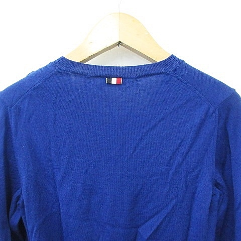 モンクレール MONCLER ニット セーター Vネック 長袖 ライン 無地 ウール 青 赤 黒 白 ブルー M メンズ