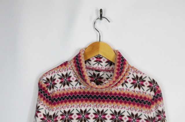 ユニクロ UNIQLO Tシャツ カットソー フリース ポリエステル 長袖 タートル ノルディック柄 ピンク系 L レディース