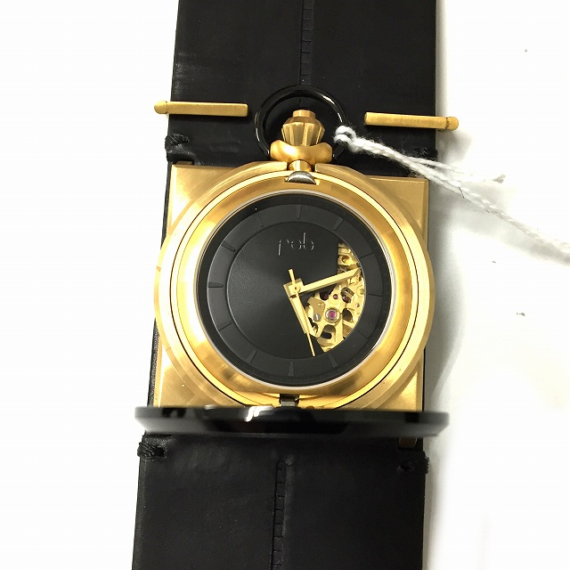 フォブ パリス fob PARIS 腕時計 機械式 レザーカフ R100-04/R40-07/Gold Cuff ゴールド ブラック 金 黒 05 05 メンズ レディース