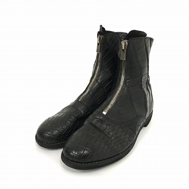 ace159efd3c1 グイディ GUIDI CROCODILE FULL GRAIN クロコダイル レザー センタージップ ブーツ 43 黒 ブラック メンズ
