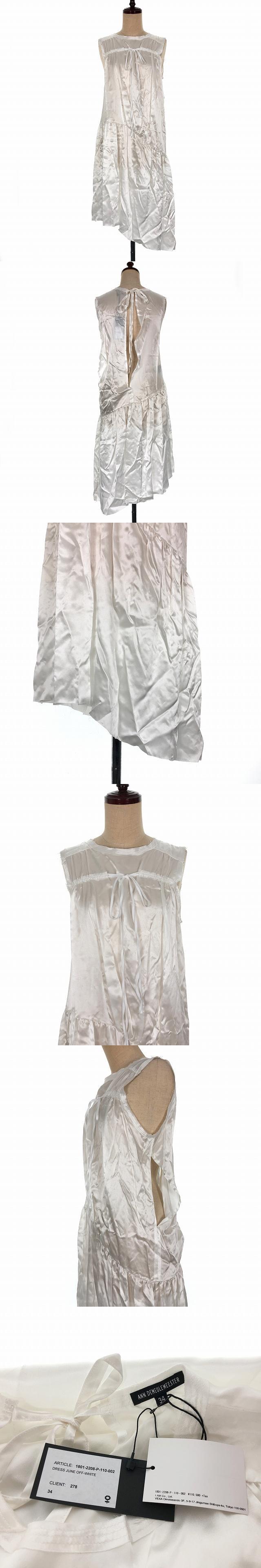 18SS サテン ワンピース ドレス ノースリーブ リボン アシンメトリー ミディ丈 スリット 34 ホワイト 白 1801-2208-P-110-002