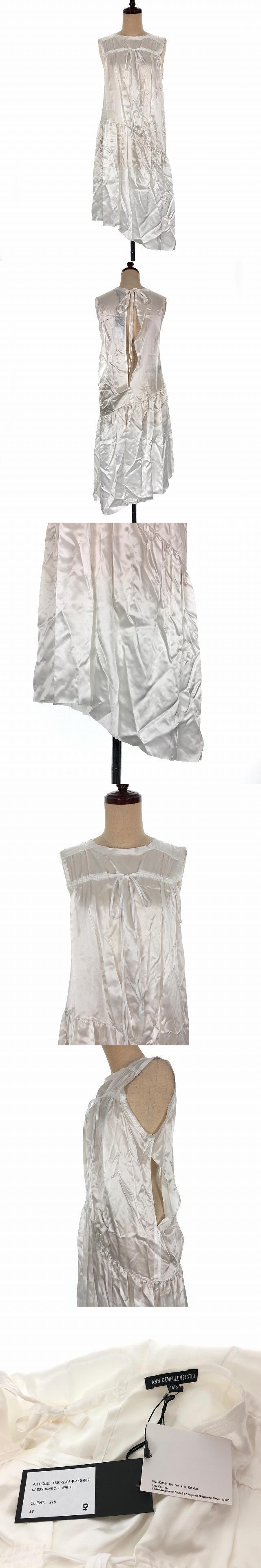 18SS サテン ワンピース ドレス ノースリーブ リボン アシンメトリー ミディ丈 スリット 38 ホワイト 白 1801-2208-P-110-002