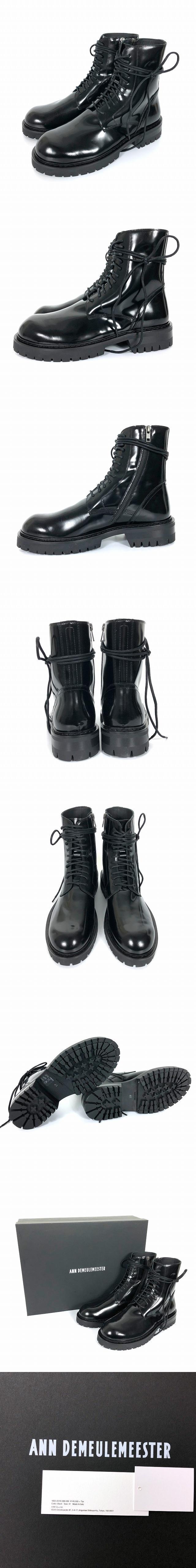 18AW エナメル レザー サイドジップ レースアップ ブーツ 41 26 cm ブラック 黒 1802-4220-388-099