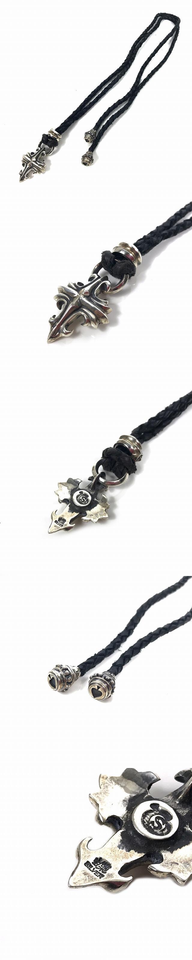 ラウドスタイルデザイン Loud Style Design クロス レザーチョーカー ネックレス SILVER925 シルバー 銀 ブラック 黒