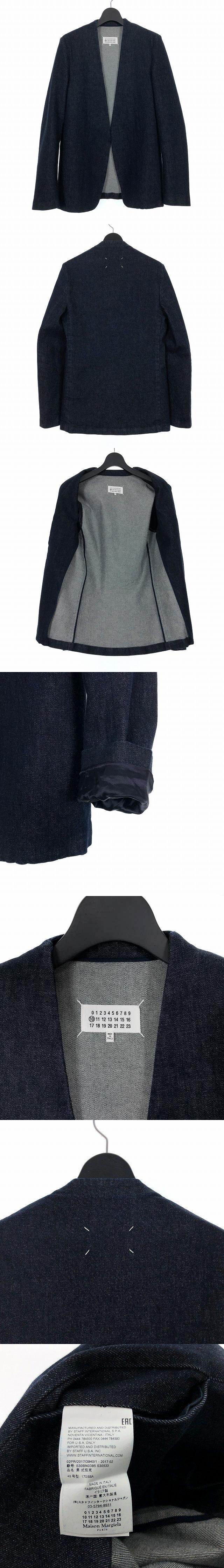 17AW ノーカラー デニム テーラードジャケット 48 紺 インディゴ