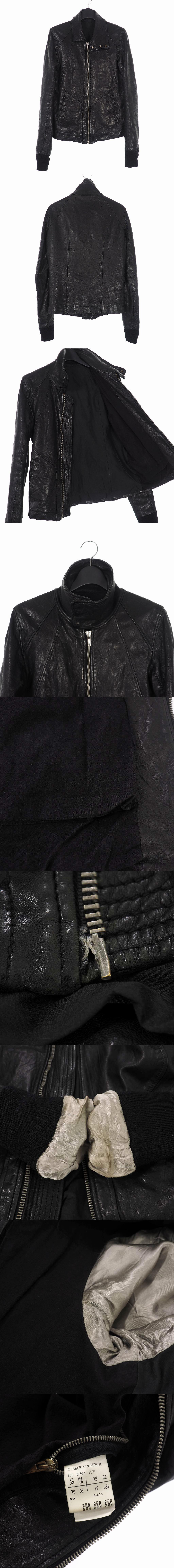 ハイネック ラムレザージャケット ライダース XS ブラック 黒 RU5761/LP