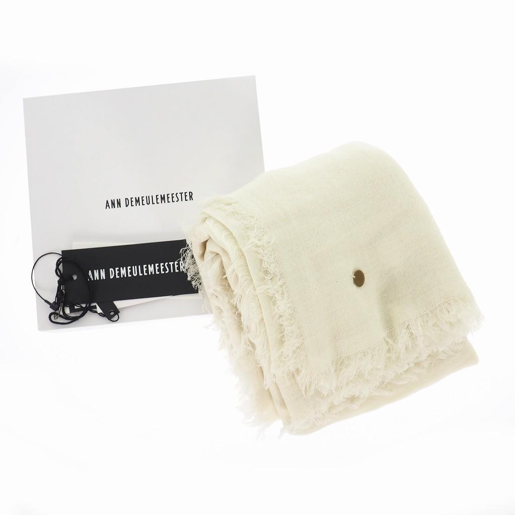 未使用品 アンドゥムルメステール ANN DEMEULEMEESTER 19SS SCARF CASIMIR FINE カシミヤ ストール マフラー スカーフ ホワイト 白 1901-8630-W-408-001 国内正規 レディース