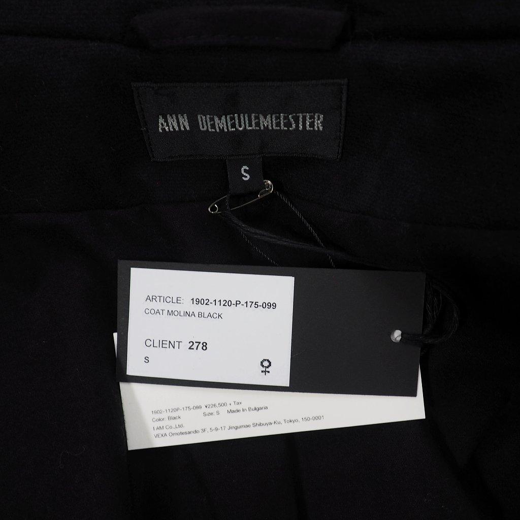 未使用品 アンドゥムルメステール ANN DEMEULEMEESTER 19AW COAT ガウンコート 長袖 S ブラック 黒 1902-1120-P-175-099 レディース
