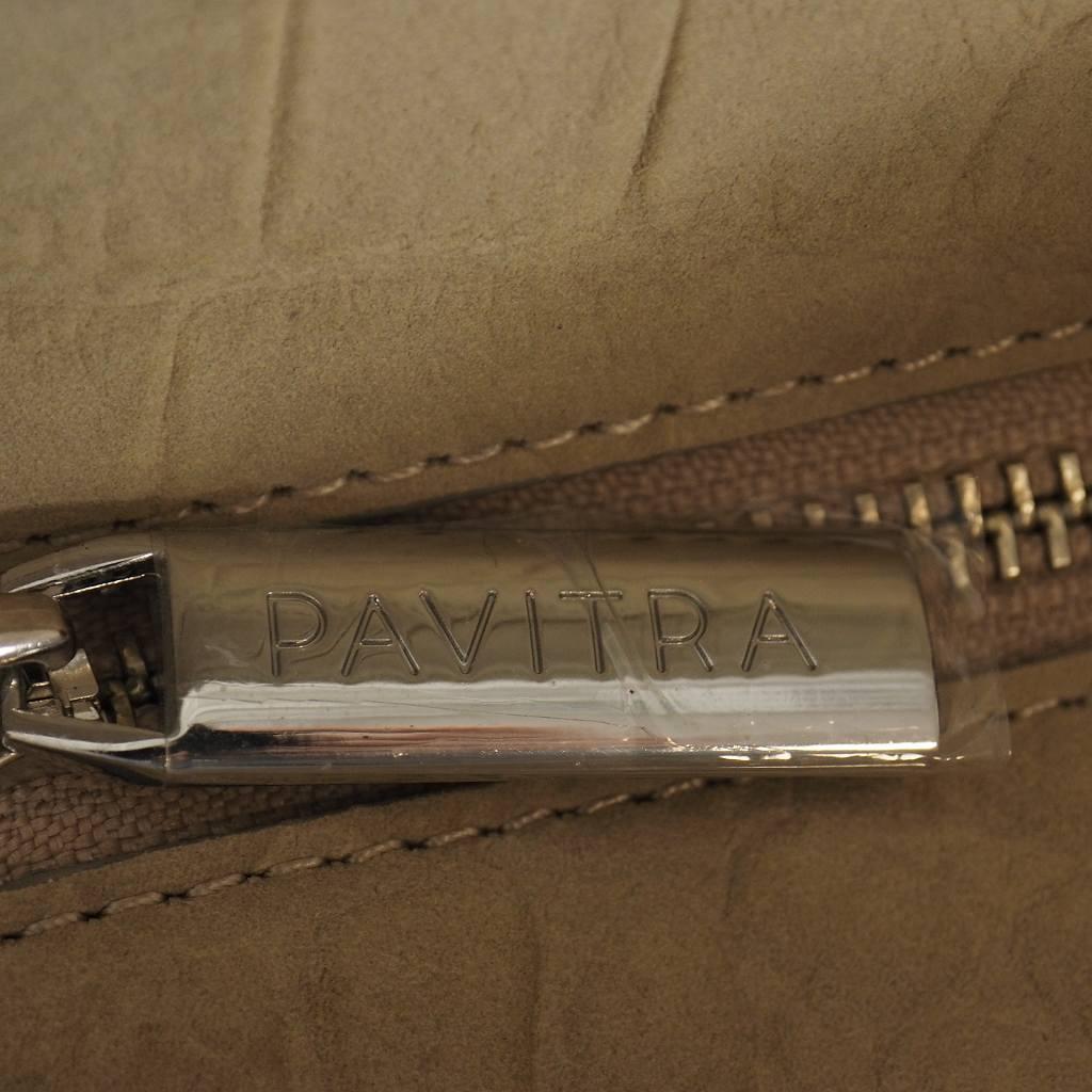 未使用品 パヴィトラ PAVITRA PINO ヌバックレザー トートバッグ クロコ型押し ベージュ メンズ