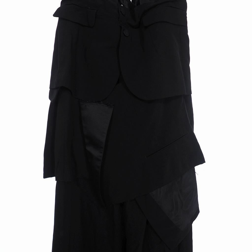 未使用品 ファセッタズム FACETASM ウール ギャバジン サスペンダー ジャケット スカート ドッキング ワイド スラックス パンツ 00 黒 ブラック RB-PT-M08 メンズ レディース
