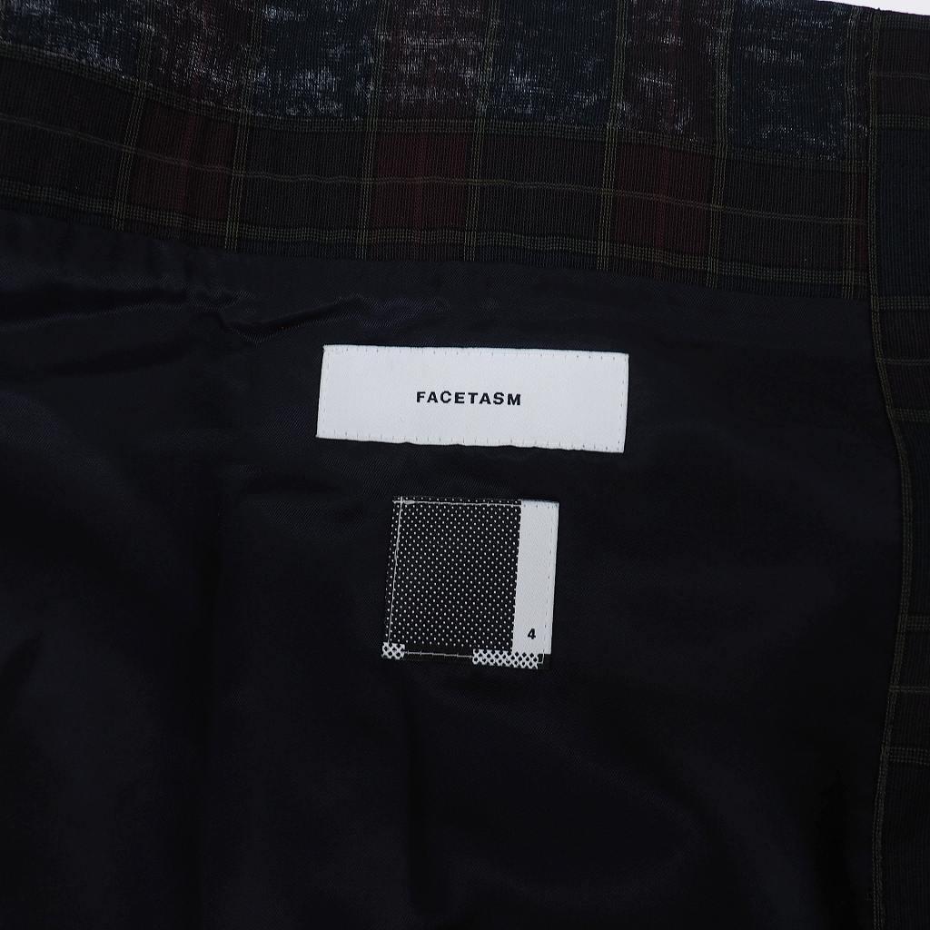 未使用品 ファセッタズム FACETASM PLEATS RIB SKIRT ベルト付き プリーツ リブ チェックスカート 巻きスカート キルトスカート 4 グリーン 緑 RB-SK-U01 メンズ