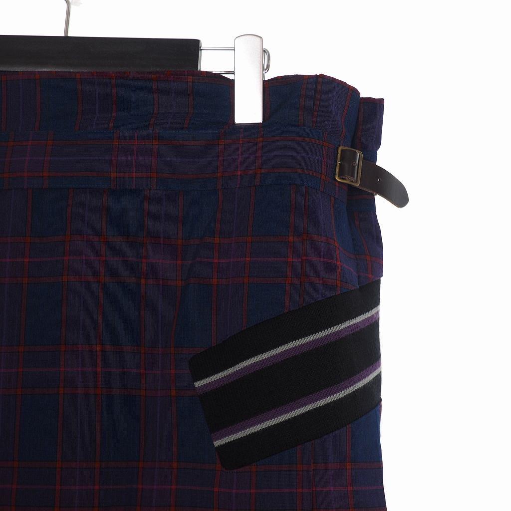 未使用品 ファセッタズム FACETASM チェック ロング 巻きスカート サイドベルト ライン 4 ネイビー レッド RB-SK-U01 メンズ レディース