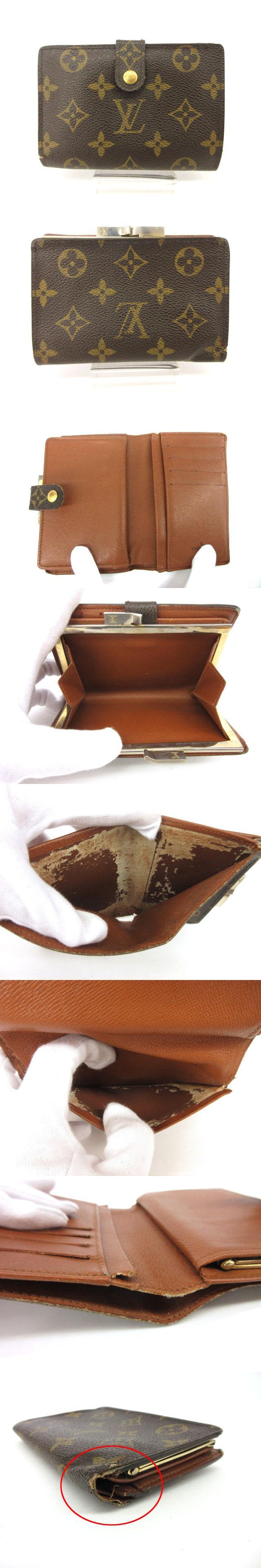 ポルトモネビエ ヴィエノワ モノグラム USA製 財布 二つ折り がま口 茶 ブラウン /mi