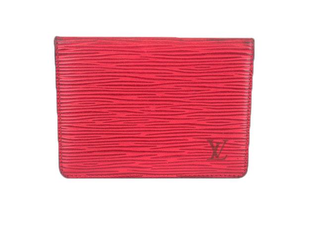 ルイヴィトン LOUIS VUITTON ポルト2カルト ヴェルティカル エピ パスケース 赤 レッド M63207 /mm レディース