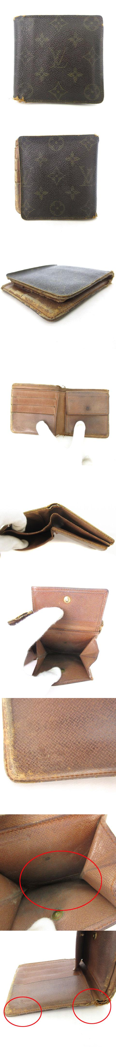 ポルトフォイユマルコ モノグラム 旧型 財布 2つ折り 茶 ブラウン M61675 ☆CA☆キ30-3店 /ka0312