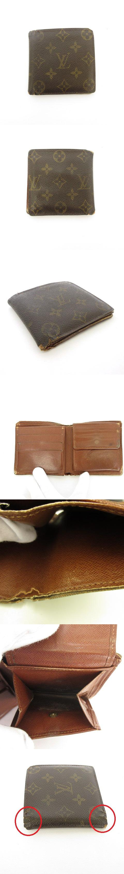 ポルトビエ カルトクレディ モネ モノグラム 財布 二つ折り 茶 ブラウン M61665 ☆CA☆キ30-3店 /tk0313