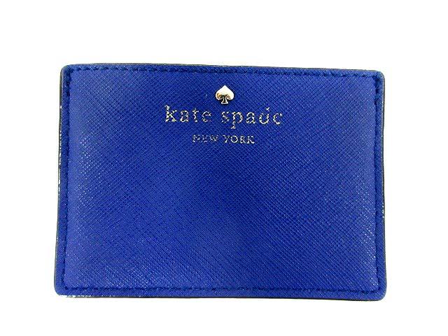 ケイトスペード KATE SPADE カードケース 定期入れ パスケース 牛革 青 /YO11 レディース