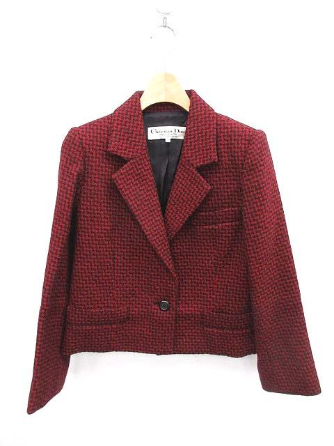 new arrival b10ab dc0ce クリスチャンディオール Christian Dior ジャケット テーラード 総柄 赤 黒 7 /DE11 レディース