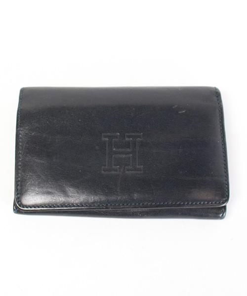 0df97187994a ヒロフ HIROFU 財布 二つ折り レザー 型押し 黒 /DE7 レディース 142 ...