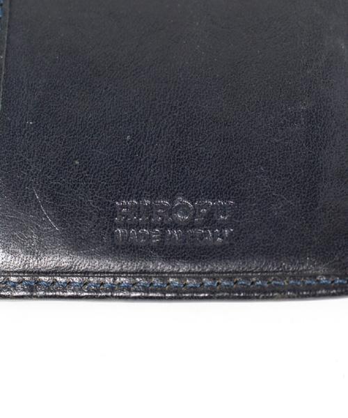 7d067771ded7 ... ヒロフ HIROFU 財布 二つ折り レザー 型押し 黒 /DE7 レディース ...