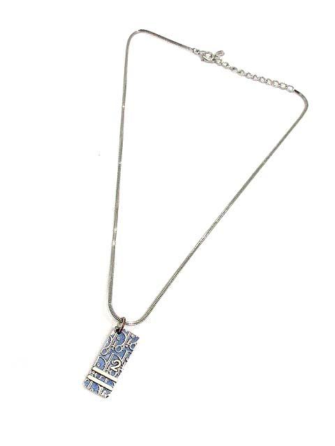 78673b855d クリスチャンディオール Christian Dior アクセサリー ネックレス ペンダント トロッター柄 シルバー 青 /YI37 レディース