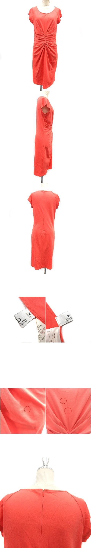 ワンピース 半袖 ひざ丈 麻混 リネン混 36 オレンジ ●D /AD12