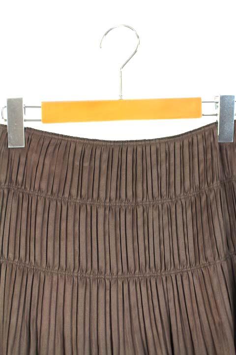 アンタイトル UNTITLED スカート プリーツ ミニ 茶 /KK レディース