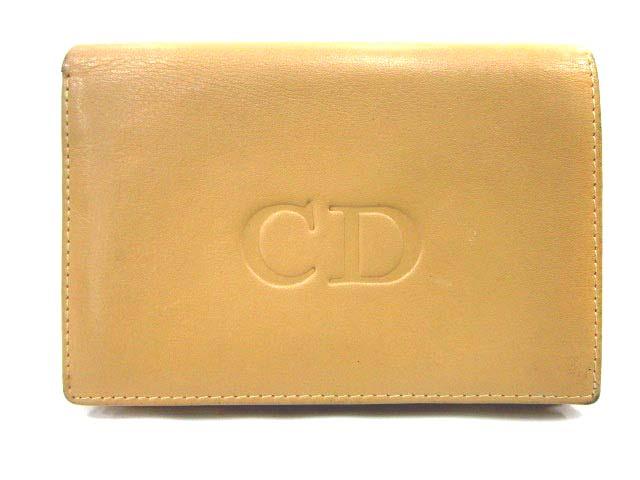 new product 52177 e1407 クリスチャンディオール Christian Dior 財布 二つ折り レザー ベージュ /IC334 レディース