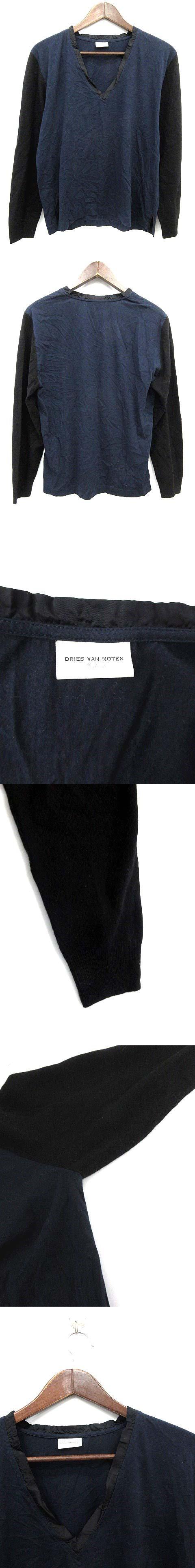 カットソー ニット 切り替え 長袖 Vネック M 紺 黒 /KH ● ■CA