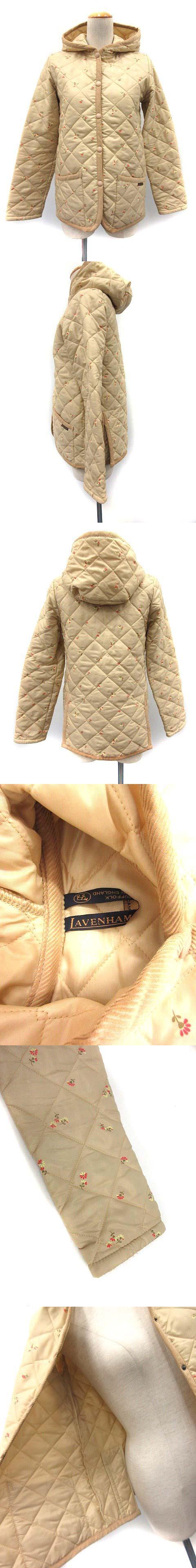 ジャケット キルティング 中綿 花柄 フード 34 ベージュ /KH ■CA