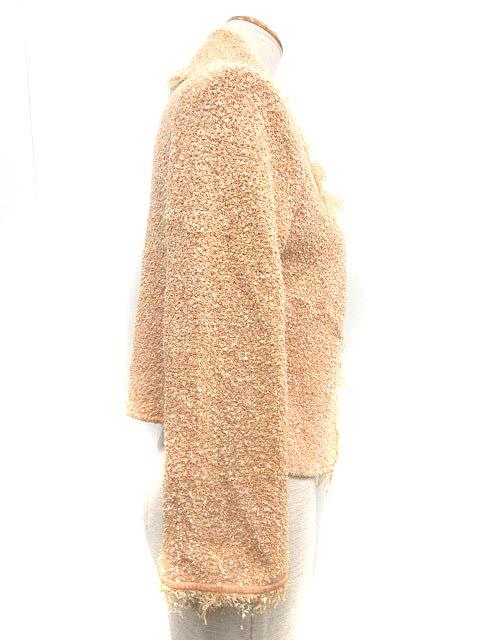 フォクシー FOXEY ジャケット ショート ツイード フリンジ シルク混 42 ピンク /NT16 ■CA レディース