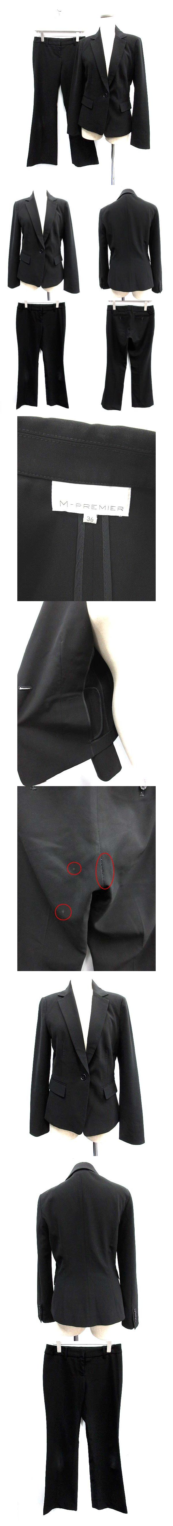 スーツ セットアップ 上下 ジャケット パンツ 36 黒 ブラック /KH ■CA29