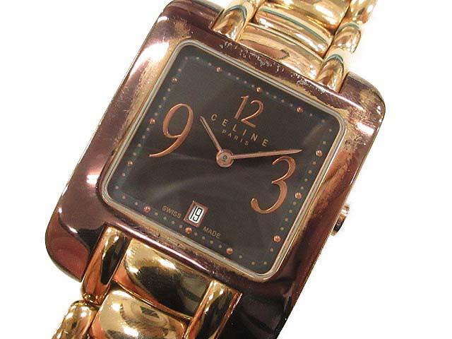 d710bb79ed セリーヌ CELINE 腕時計 スクエア クオーツ ゴールド /TU レディース 144 ...