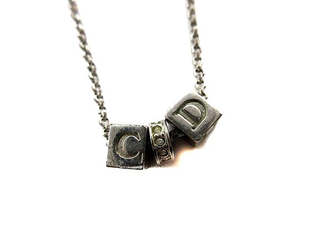 buy online 72845 afa04 クリスチャンディオール Christian Dior ネックレス シルバー ロゴキューブ クリアストーン シルバー /MR レディース