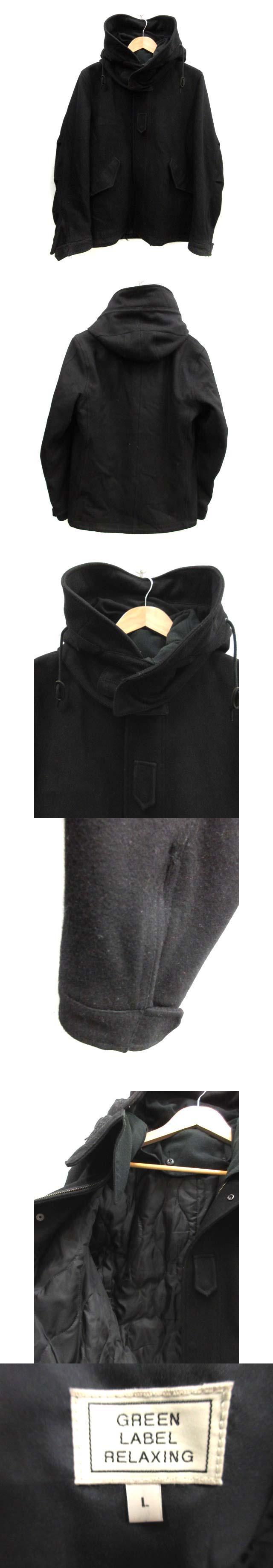 ショートコート フード ウール L 黒 /DT