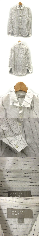 12年製 カジュアルシャツ リネン ストライプ S 白 /DH2