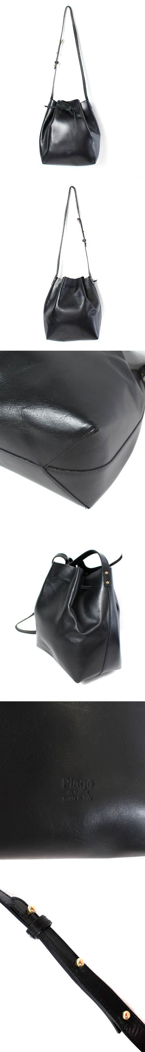 バッグ ショルダー 巾着 レザー 黒 ブラック /NT3