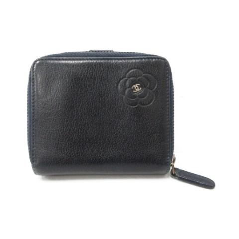 new style d11a9 06921 シャネル CHANEL 財布 二つ折り レザー 紺 ネイビー /MR ●D レディース