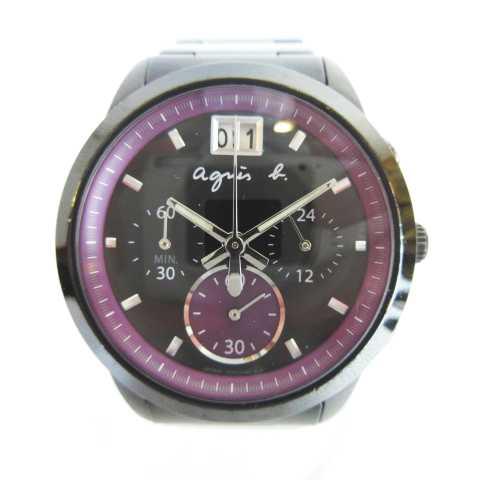 huge discount 0dd66 832c0 アニエスベー agnes b. VK73-00B0 クオーツ クロノグラフ 腕時計 カレンダー ブラック パープル MH1117 レディース