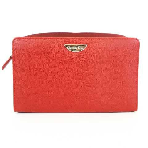 official photos b57b3 89175 クリスチャンディオール Christian Dior 極美品 化粧ポーチ コスメバッグ レザー レッド 赤 MH1216 レディース