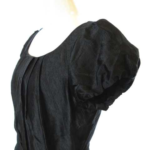 ロートレアモン LAUTREAMONT BLACK ドレス ワンピース 紐ベルト付き バルーンスリーブ 半袖 タック 膝丈 ブラック 黒 2 AI1220 レディース