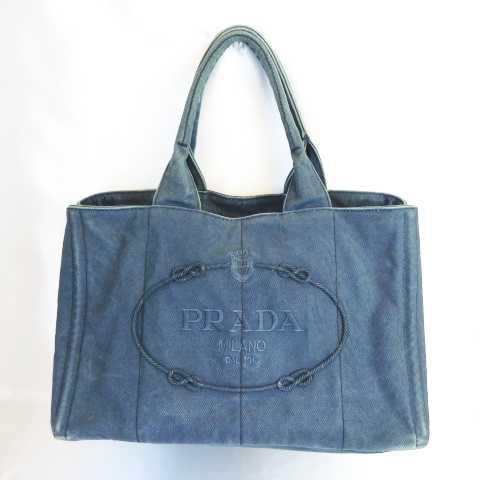 bdd7537e7bf5 プラダ PRADA カナパ CANAPA トートバッグ キャンバス 刺繍 ロゴ ブルーグレー MH0316 レディース