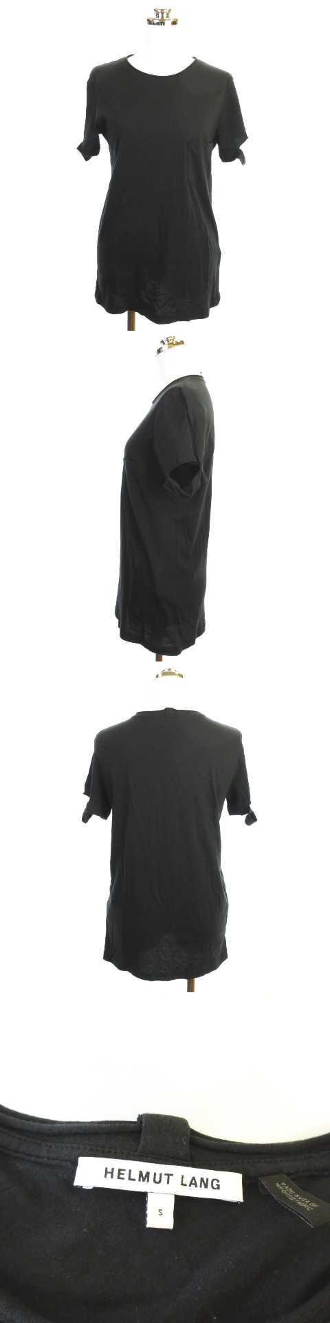 カットソー Tシャツ ポケT ラウンドネック USA製 半袖 ブラック 黒 S KK0507
