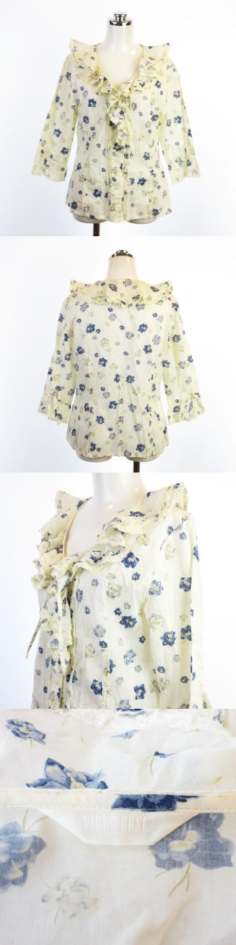 フリル ブラウス シャツ 花柄 フラワー 七分袖 レース ロマンチック 綿100% アイボリー ブルー AS1113