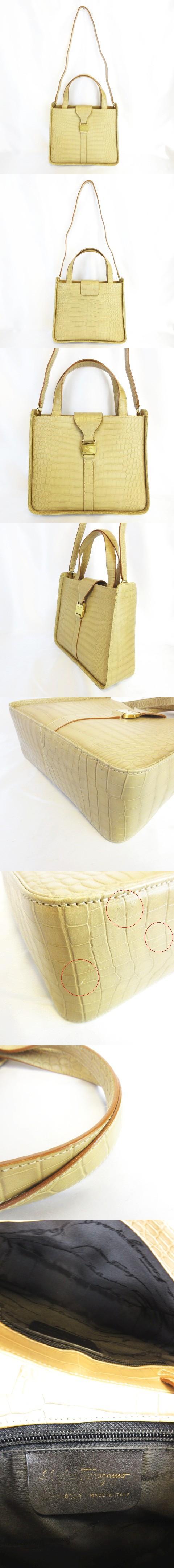 ヴァラ クロコ型押し 牛革 レザー 2WAY ハンドバッグ ワンショルダー ゴールド金具 ベージュ