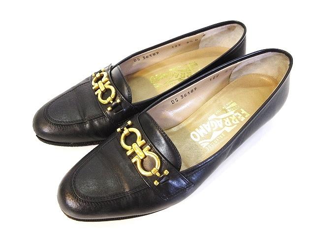 サルヴァトーレフェラガモ Salvatore Ferragamo ビット ローファー シューズ 靴  レザー 黒 ブラック 5 1/2 レディース