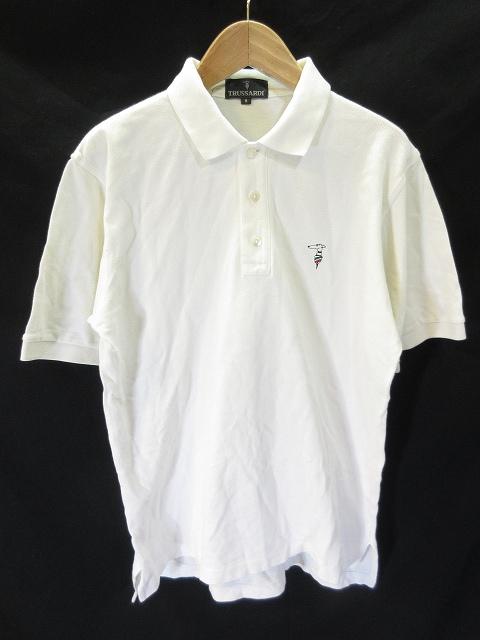 c05e67b411cb8 トラサルディ TRUSSARDI ポロシャツ 半袖 鹿の子 ワンポイント 白 ホワイト M メンズ