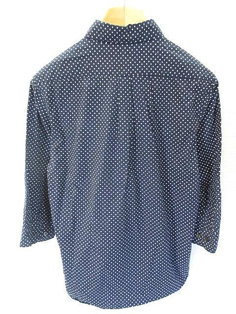 レイジブルー RAGEBLUE ボタンダウン シャツ 七分袖 ドット 柄 ネイビー 紺 メンズ